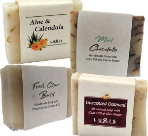 Natural Handmade soaps: Aloe & Calendula, Mint Chocolate, Fresh Citrus Basil and Unscented Oatmeal Goat Milk soap